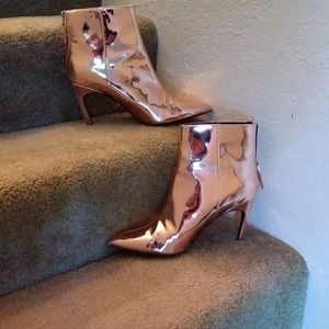 Kitten heel copper booties